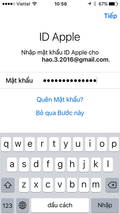 Nhập mật khẩu Apple ID nếu được yêu cầu
