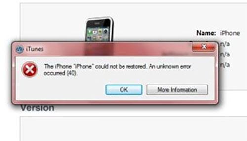 iPhone báo lỗi 40
