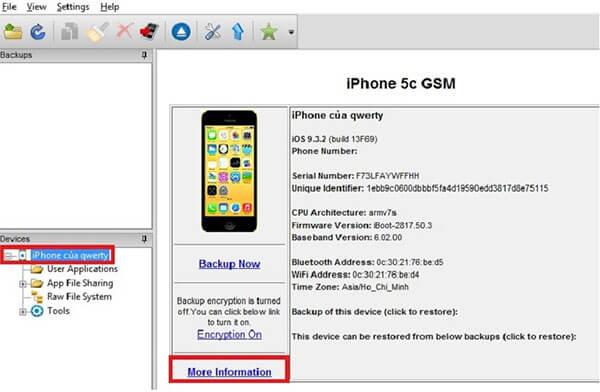 Mở phần mềm iBackupBot và kết nối iPhone với máy tính