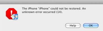 lỗi 14 xuất hiện khi restore iPhone