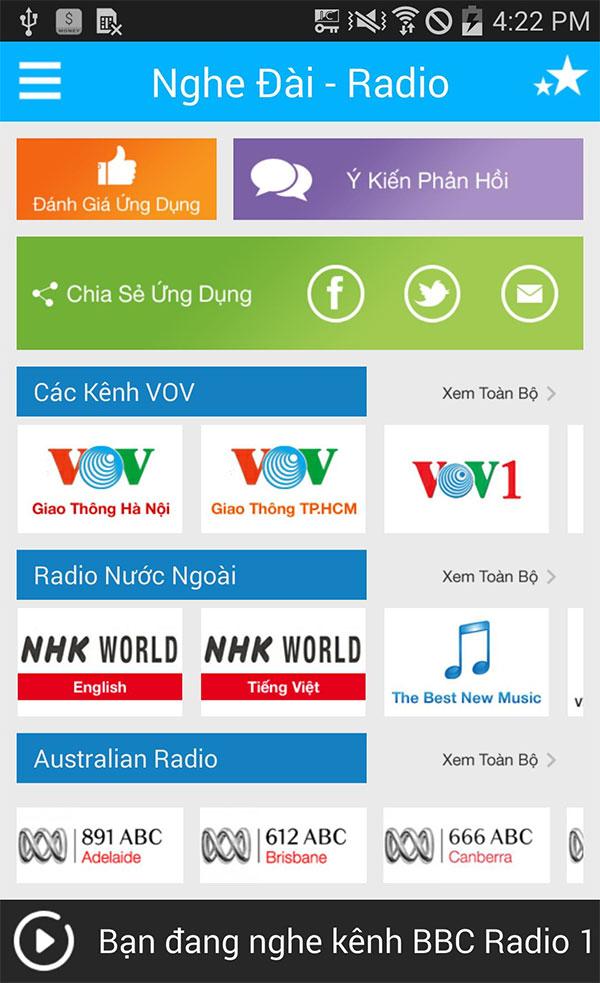 Bạn có thể nghe rất nhiều kênh Radio khác nhau với ứng dụng này