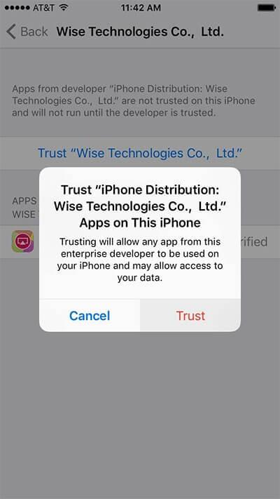Sau đó chọn Trust