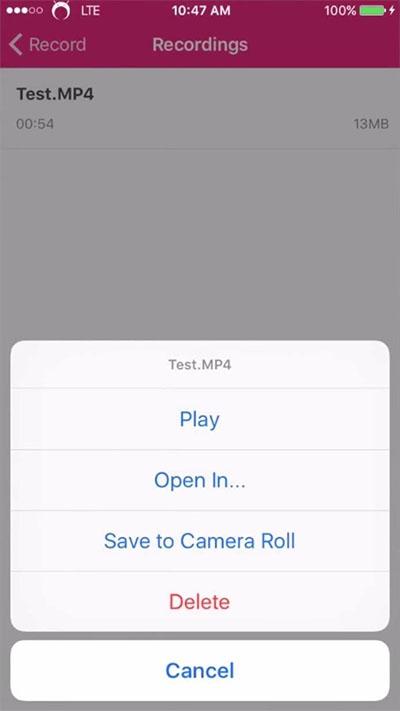 Có thể tác vụ khác bằng cách mở trong ứng dụng xem video của điện thoại