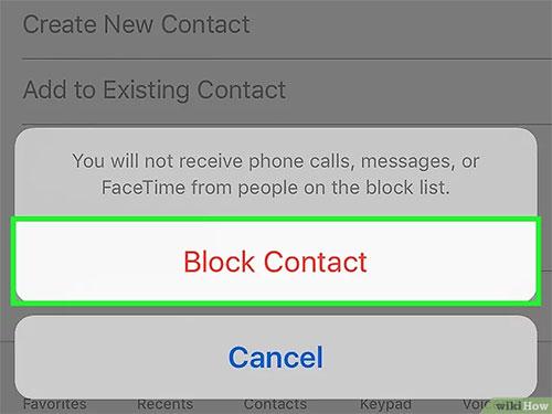 Chọn vào mục Block Contact để chặnmọi liên lạc từ số điện thoại đó