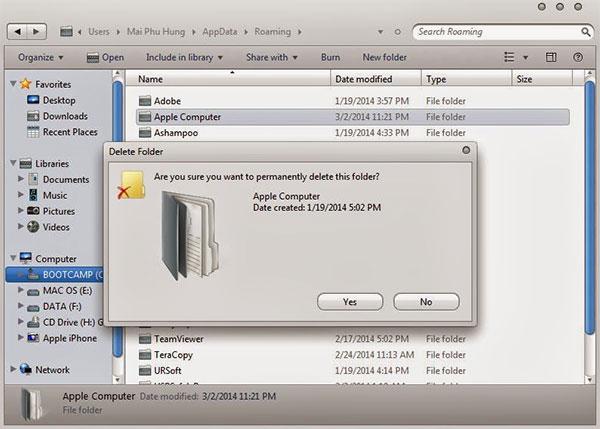 Tiếp tục xóa mục Apple Computer trong đường dẫn ổ C