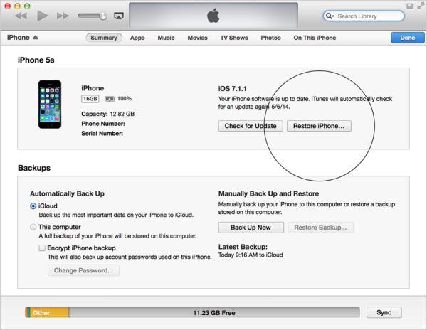 Tiến hành Restore iPhone