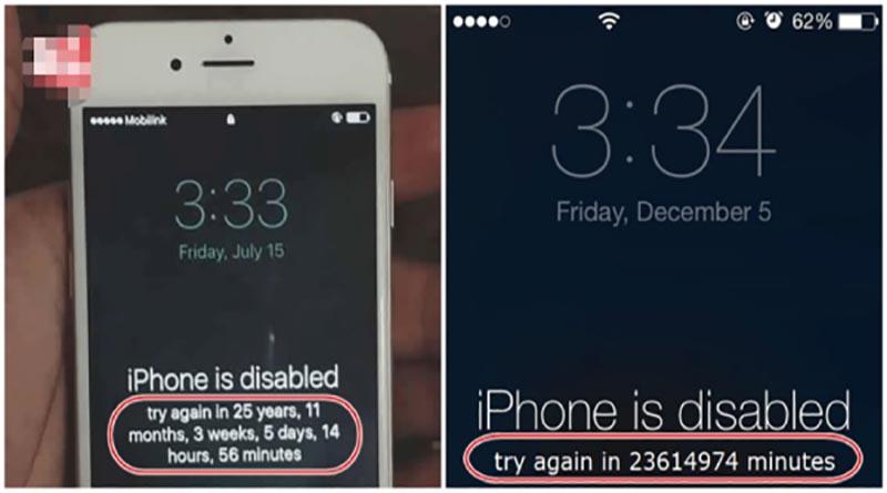 Lỗi iPhone bị vô hiệu hoá