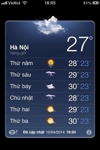 sửa lỗi ứng dụng thời tiết trên iPhone