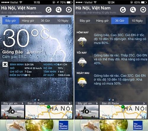 Ứng dụng thời tiết trên iPhone