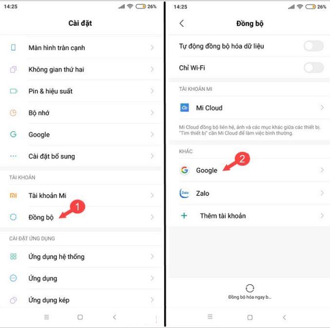 Đồng bộ hóa danh bạ từ tài khoản Gmail về điện thoại Android