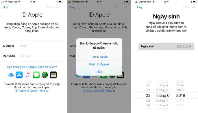 Đăng ký tài khoản iCloud bằng cách tạo ID Apple mới