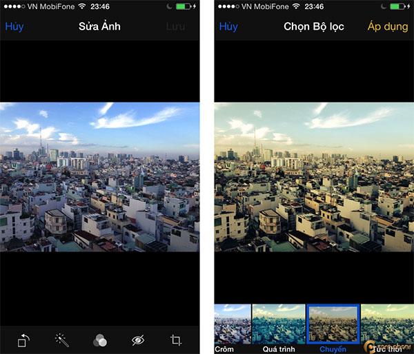 Bạn cũng có thể chỉnh sửa ảnh với các hiệu ứng được Apple cung cấp