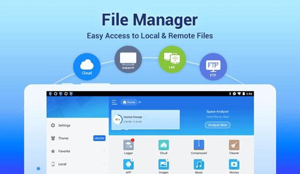ES File Explorer cho phép người dùng truy cập vào các tệp trong hệ thống trên thiết bị