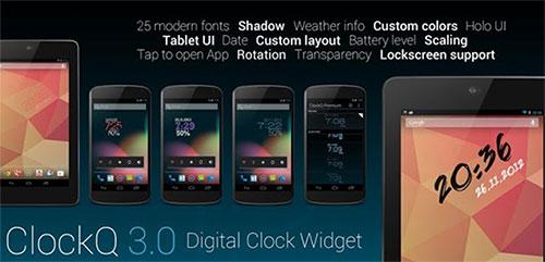 Phần mềm ClockQ - Digital Clock Widget