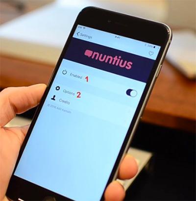 Mở ứng dụng Nuntius, vào mục Settings > chọn Enabled