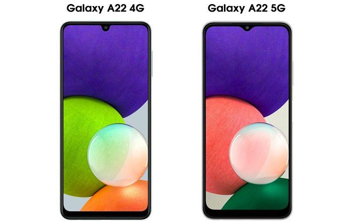 So sánh màn hình Galaxy a22 4G và 5G