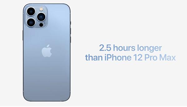 Pin iPhone 13 Pro Max dùng lâu hơn 2.5 tiếng so với iPhone 12 Pro Max